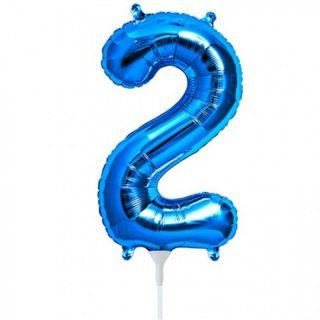 Balon folie cifra 2 albastru - 41 cm, Qualatex 59025