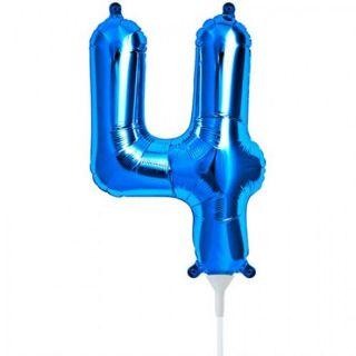 Balon folie cifra 4 albastru - 41 cm, Qualatex 59029