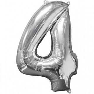 Balon Folie Cifra 4 Argintiu - 66 cm, Anagram 31958