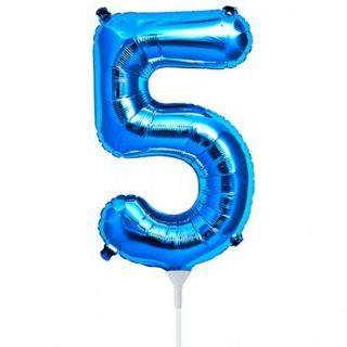 Balon folie cifra 5 albastru - 41 cm, Qualatex 59031