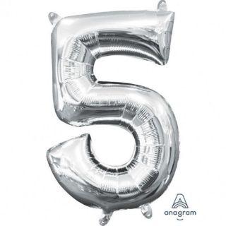 Balon Folie Cifra 5 Argintiu - 41 cm, Amscan 33084