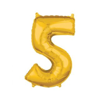 Balon Folie Cifra 5 Auriu - 45 x 66 cm, Anagram 36558