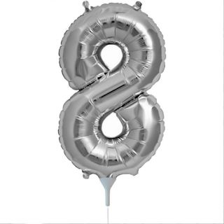 Balon folie cifra 8 argintiu - 41cm, Amscan 33090