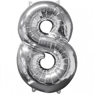 Balon Folie Cifra 8 Argintiu - 66 cm, Anagram 31962