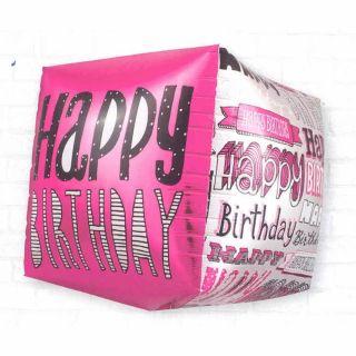 Balon folie cubez 3D Happy Birthday - 45cm, Northstar Balloons