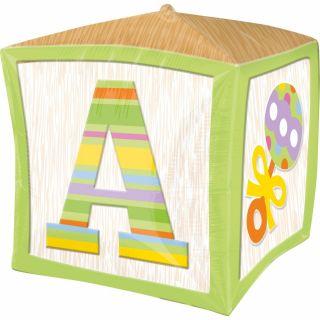 Balon folie cubez Green Baby Block - 38 cm, Amscan 28380