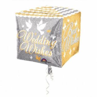 Balon Folie Cubez Shimmering Wedding Wishes - 38x 38 cm, Amscan
