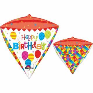 Balon folie diamonds Happy Birthday - 38x43cm, Amscan 28374
