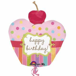 Balon folie figurina Birthday Cupcake, Amscan 24474