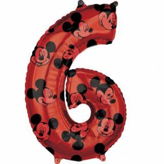Balon Folie Figurina Mickey Mouse Forever Cifra 6 rosu- 66 cm, Amscan 41707, 1 buc