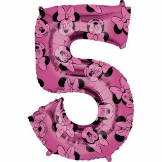 Balon Folie Figurina Minnie Mouse Forever Cifra 5 roz- 66 cm, Amscan 40140, 1 buc