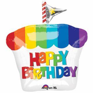 Balon folie figurina prajiitura curcubeu Happy Birthday - 45 x 53 cm, Amscan 28810