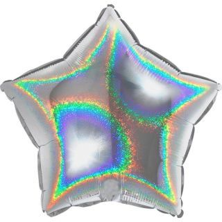 Balon folie glitter stea argintie - 45 cm, Radar