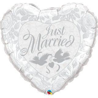 Balon folie inima Just Married - 91 cm, Qualatex 82425