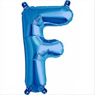 Balon folie litera F albastru - 41 cm, Qualatex 59392