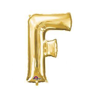 Balon Folie Litera F Auriu - 41 cm, Amscan 33022