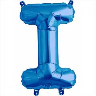 Balon folie litera I albastru - 41 cm, Qualatex 59398