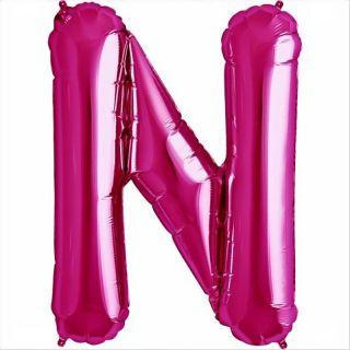 Balon folie litera N magenta - 41cm, Qualatex 59574