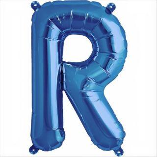 Balon folie litera R albastru - 41 cm, Qualatex 59416