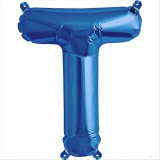 Balon folie litera T albastru - 41 cm, Qualatex 59420