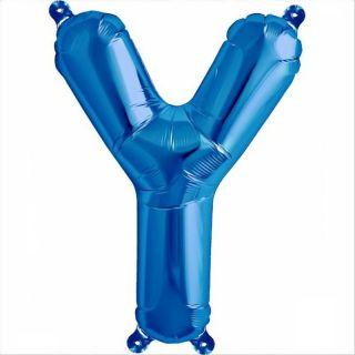 Balon folie litera Y albastru - 41 cm, Qualatex 59430