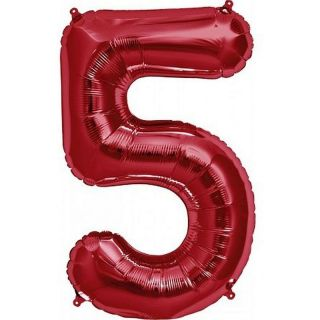 Balon folie mare cifra 5 rosu - 86cm, Amscan 28286