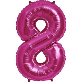 Balon folie mare cifra 8 magenta - 86 cm, Amscan 28296