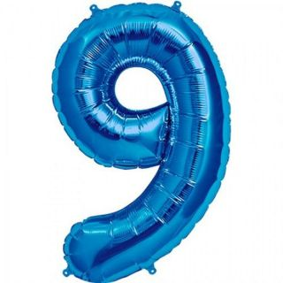 Balon folie mare cifra 9 albastru - 86cm, Amscan 28297