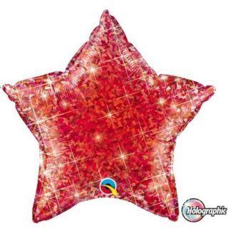 Balon folie metalizat stea rosie holografic - 50 cm, Qualatex