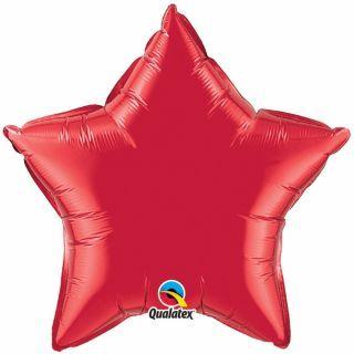 Balon folie metalizat stea ruby red- 50cm, Qualatex
