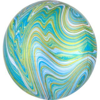 Balon Folie Orbz Blue Green Marblez - 38 x 40 cm, Radar 41393