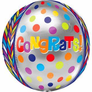 Balon folie orbz sfera Congratulation - 40 cm, Amscan 28373