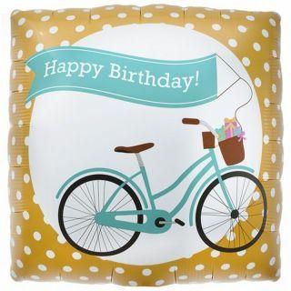 Balon folie patrat Happy Birthday Bike - 45cm, Northstar Balloons
