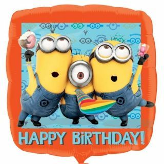 Balon folie patrat Minion Happy Birthday - 45cm, Amscan