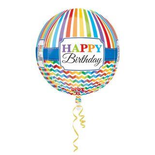 Balon Folie Sfera Orbz Happy Birthday, 38 x 40 cm