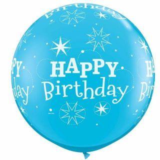 Balon Jumbo 3 ft (90 cm) Albastru Happy Birthday, Qualatex 43543, 1 buc