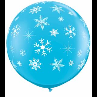 Balon Jumbo Albastru Fulgi de Nea