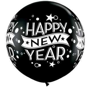 Balon latex Jumbo 3'/91 cm Happy New Year