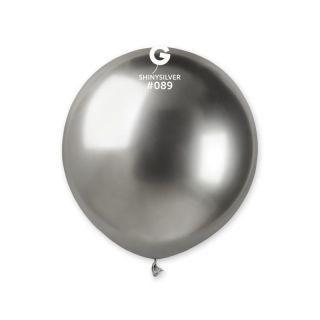 Balon Latex Jumbo Shiny Silver- 48 cm, Gemar GB150.89, set 5 buc