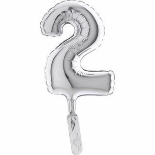 Balon micro folie cifra 2 argintiu - 18cm, Radar 07092