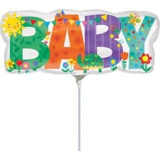 Balon mini figurina Banner Baby - 33 x 13cm, umflat + bat si rozeta, Amscan 35609