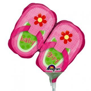 "Balon mini figurina botosei ""Baby Girl"" - 23cm, umflat + bat si rozeta, Amscan 2886802"