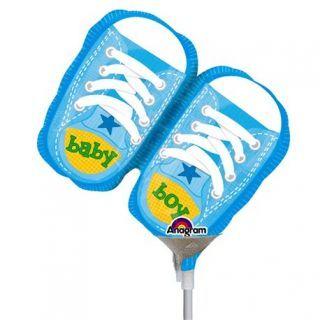 "Balon mini figurina botosei bleu ""Baby Boy"" - 23cm, umflat + bat si rozeta, Amscan 2886902"