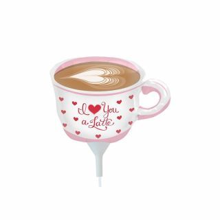 Balon mini figurina ceasca cafea I Love Latte - 36cm, umflat + bat si rozeta, Northstar Balloons 00623