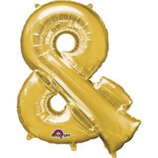 "Balon mini figurina Simbolul ""&"" auriu - 27 x 35 cm, umflat + bat si rozeta, Amscan 33069"
