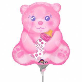 Balon mini figurina Ursulet cu Biberon it's a Girl 23cm, umflat + bat si rozeta, Amscan 33657