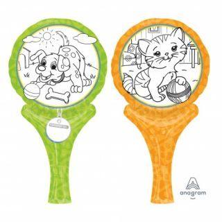 Balon mini folie Inflate-a-Fun Pets, cu accesorii pentru colorat, Amscan