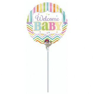 Balon Mini Folie Welcome Baby 23 cm - umflat + bat si rozeta, Amscan
