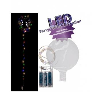 Balon transparent cu instalatie led colorata - ca. 45 cm (umflat), 30 led-uri, Radar