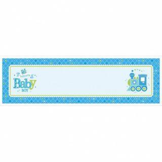 Banner bleu pentru petrecere personalizabil Welcome Baby Boy  165.1 X 50.8cm